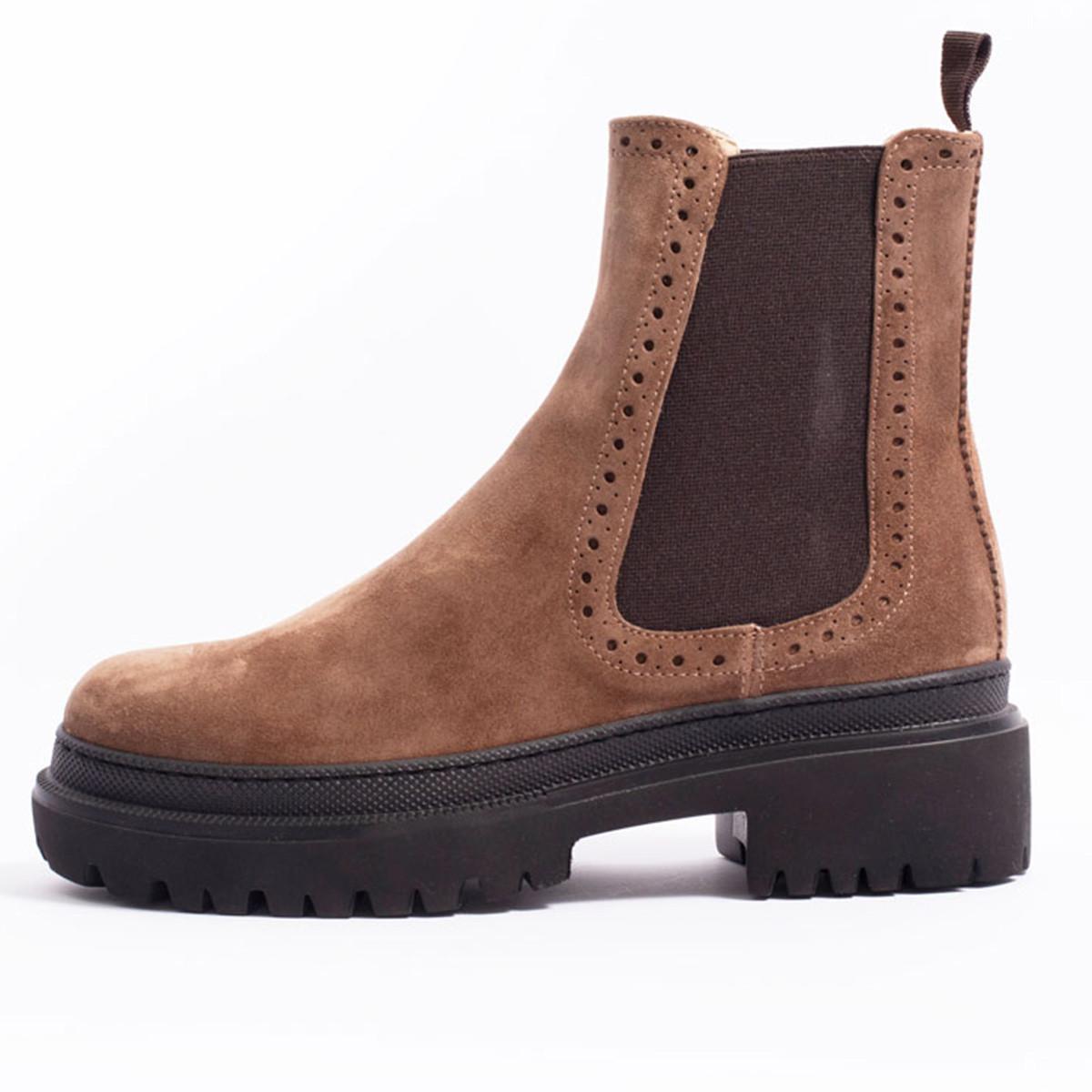 Boots en velours camel