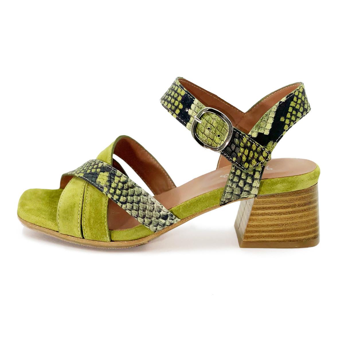 Sandale velours pistache