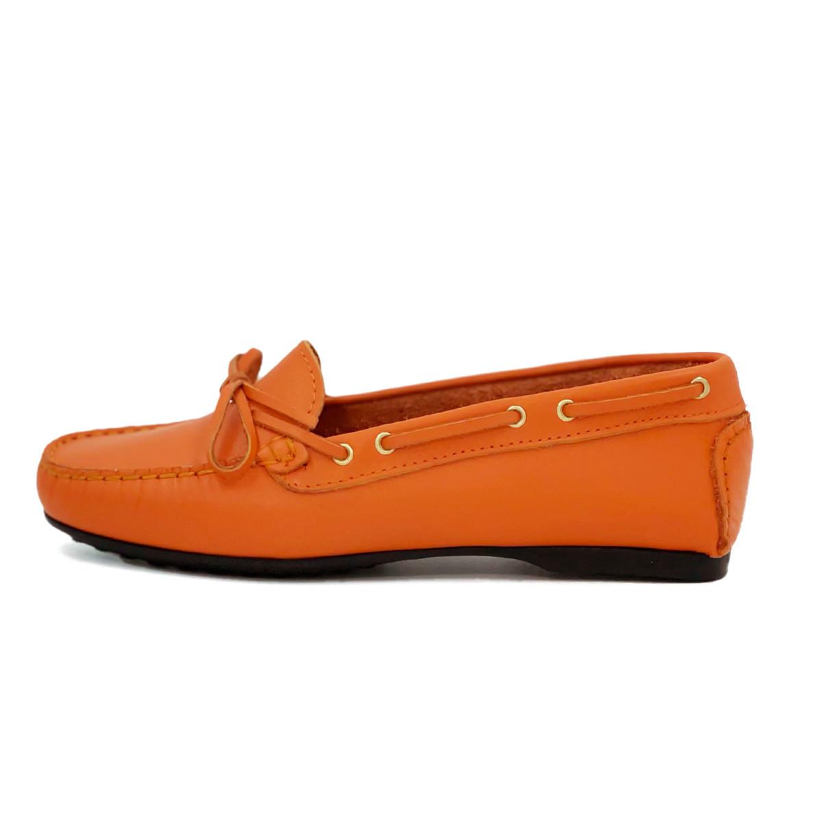 Mocassin cuir orange